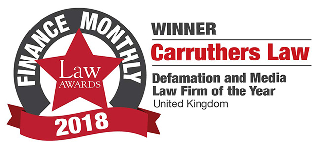 Law Awards - Defamation and Media Law Firm of the year 2018